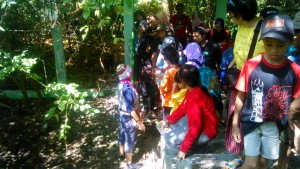 Penjelasan mengenai moluska bagi peserta kegiatan penanaman mangrove