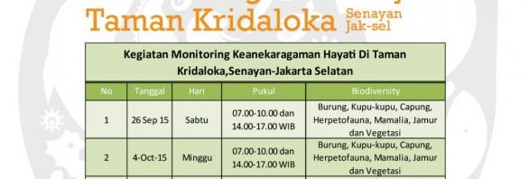 Monitoring Keanekaragaman Hayati Taman Kridaloka